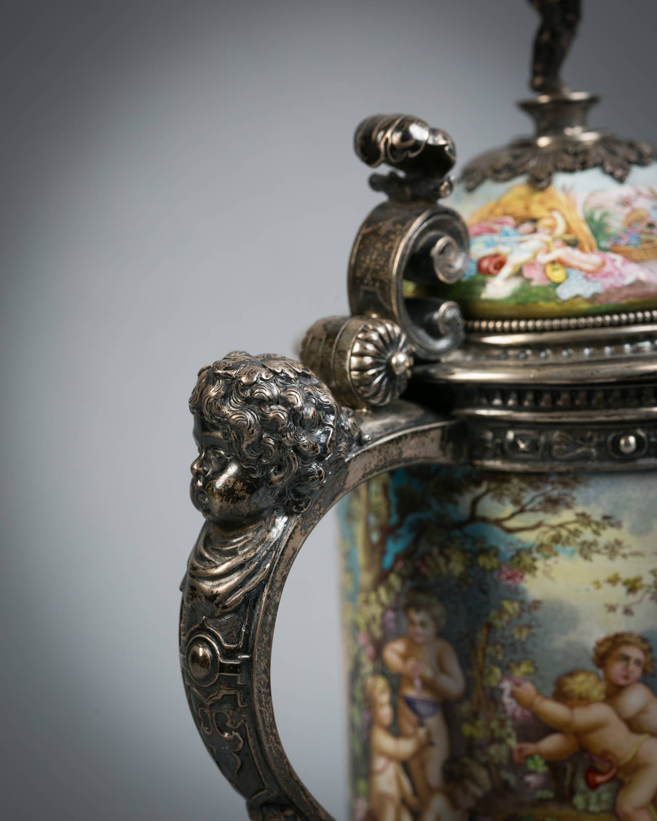 Austrian Large Vienna Silver and Enamel Tankard, circa 1875 For Sale