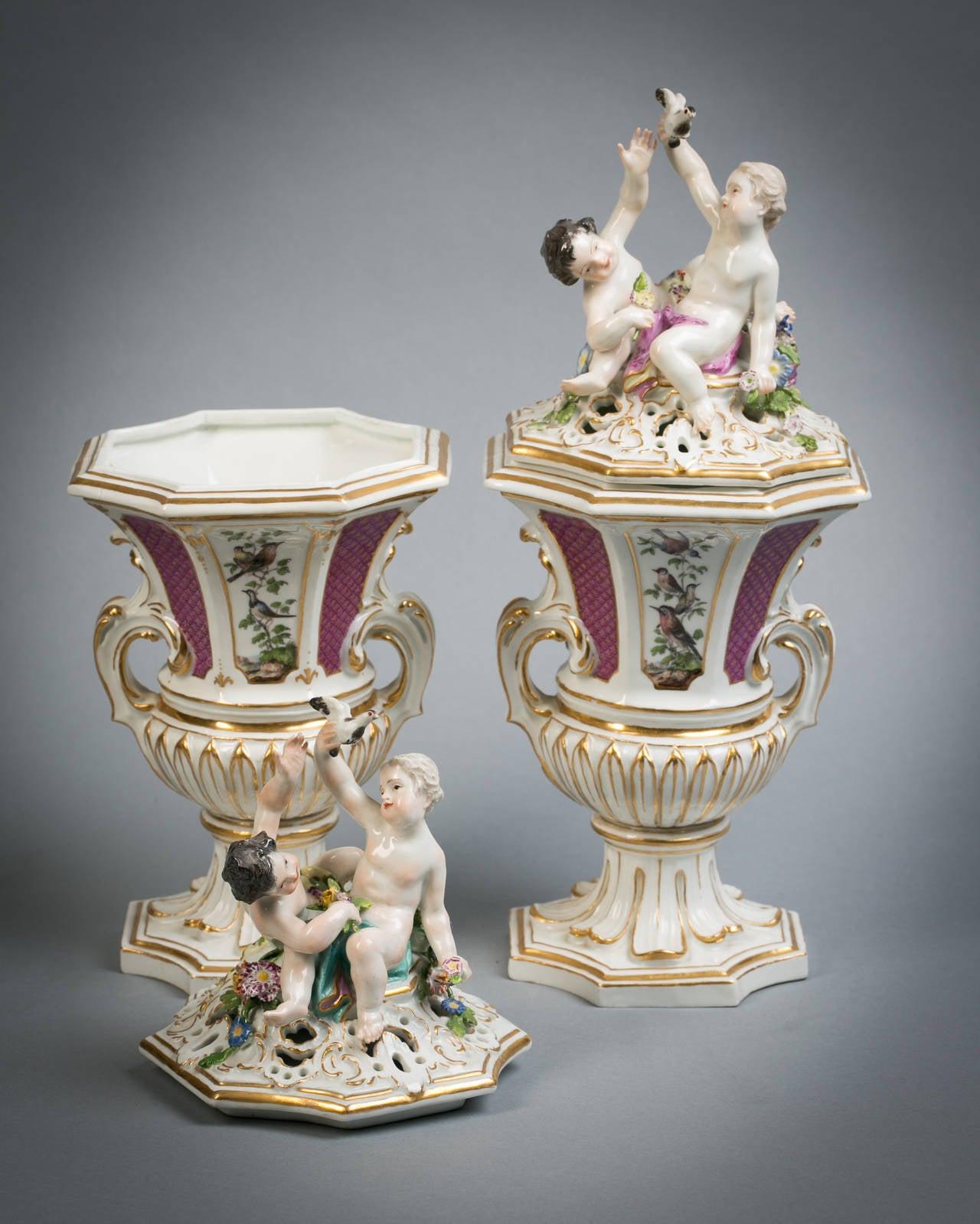 Pair of Meissen covered potpourri vases, circa 1745.