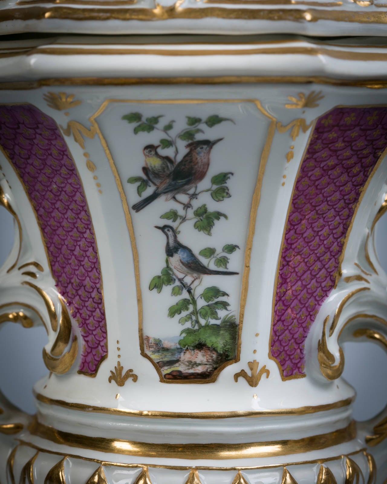Mid-18th Century Pair of Meissen Covered Potpourri Vases, circa 1745 For Sale