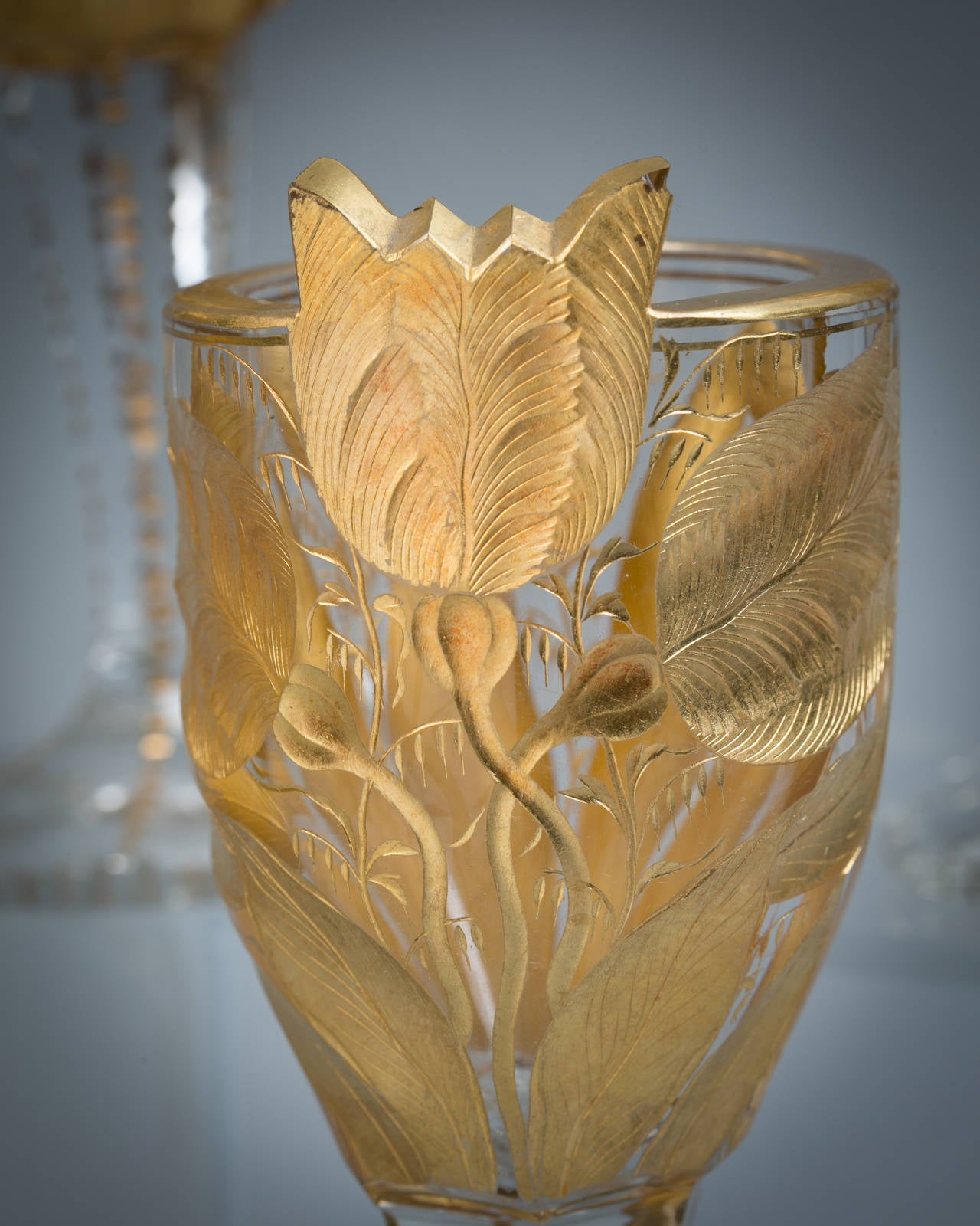 Set of six French cut and engraved glasses, circa 1900.