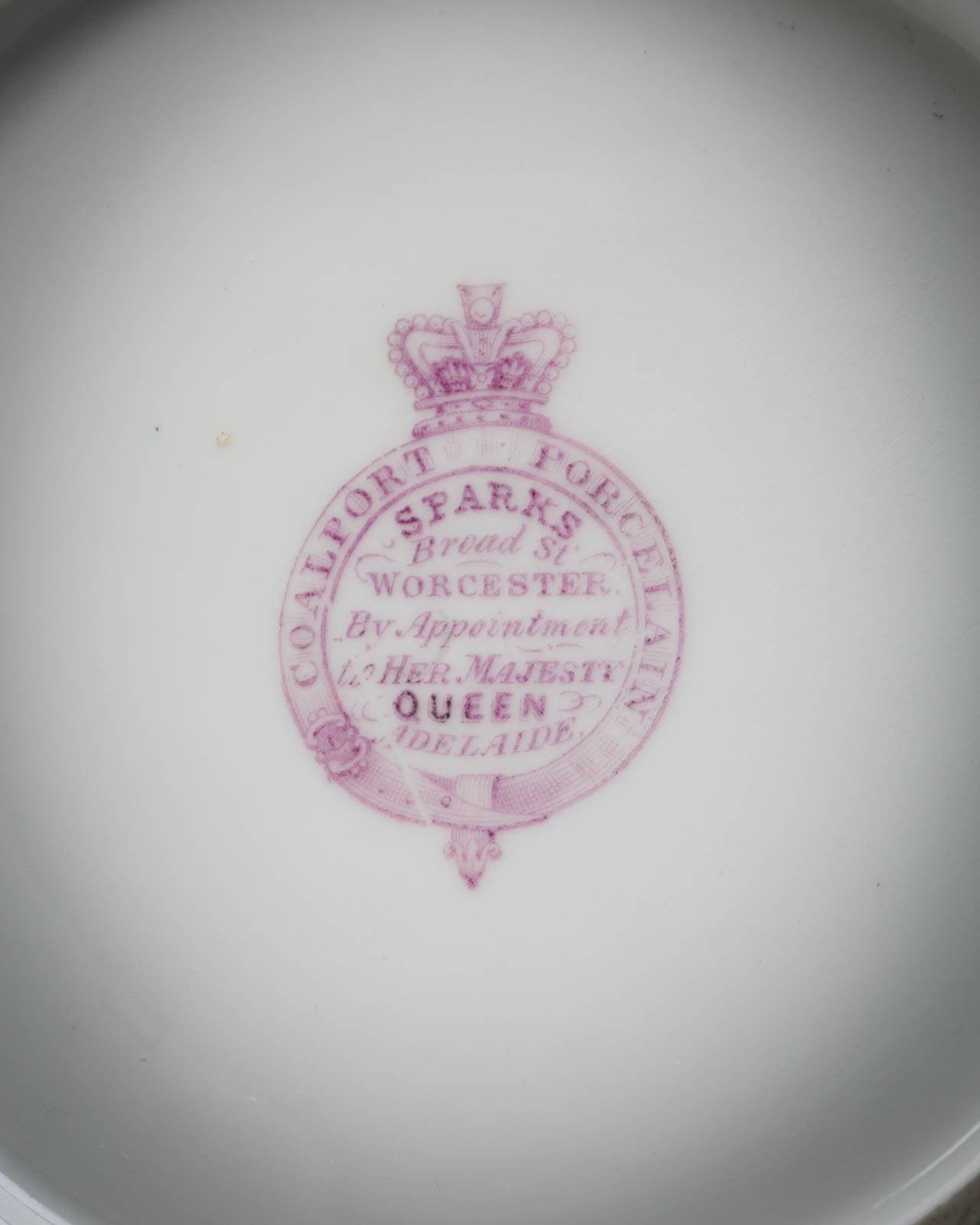 English Coalport Porcelain Dessert Service, circa 1850 For Sale 4