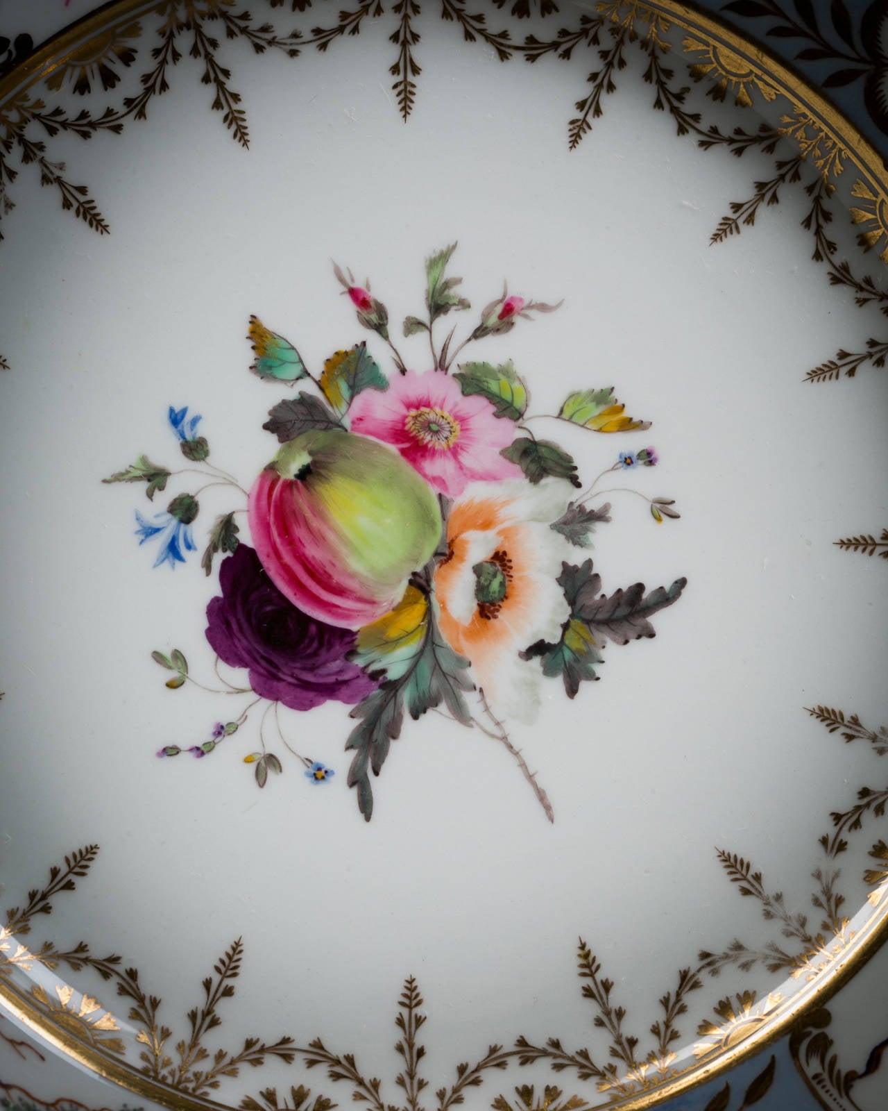 English Chamberlain Worcester Porcelain Part Dessert Service, circa 1815 For Sale 1