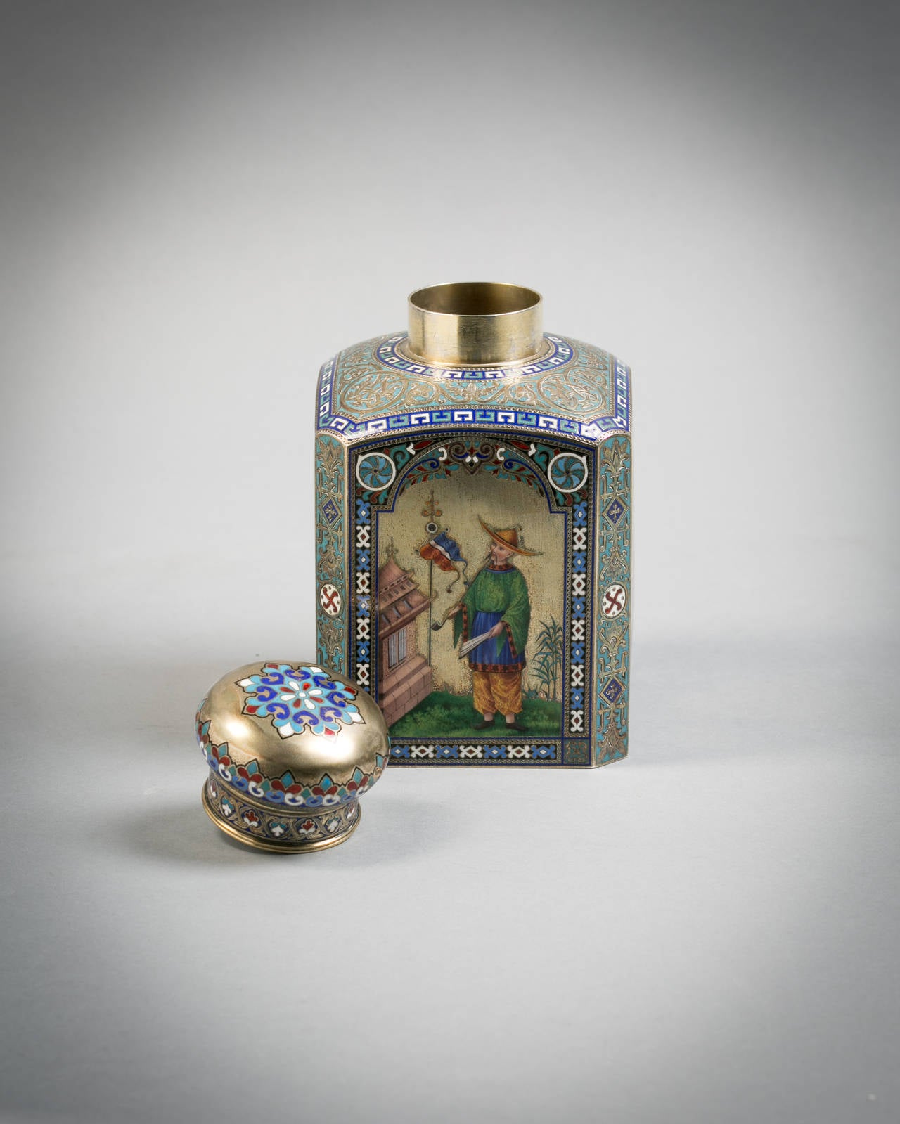 Russian Engraved Silver and Enamel Tea Canister, 1884 2