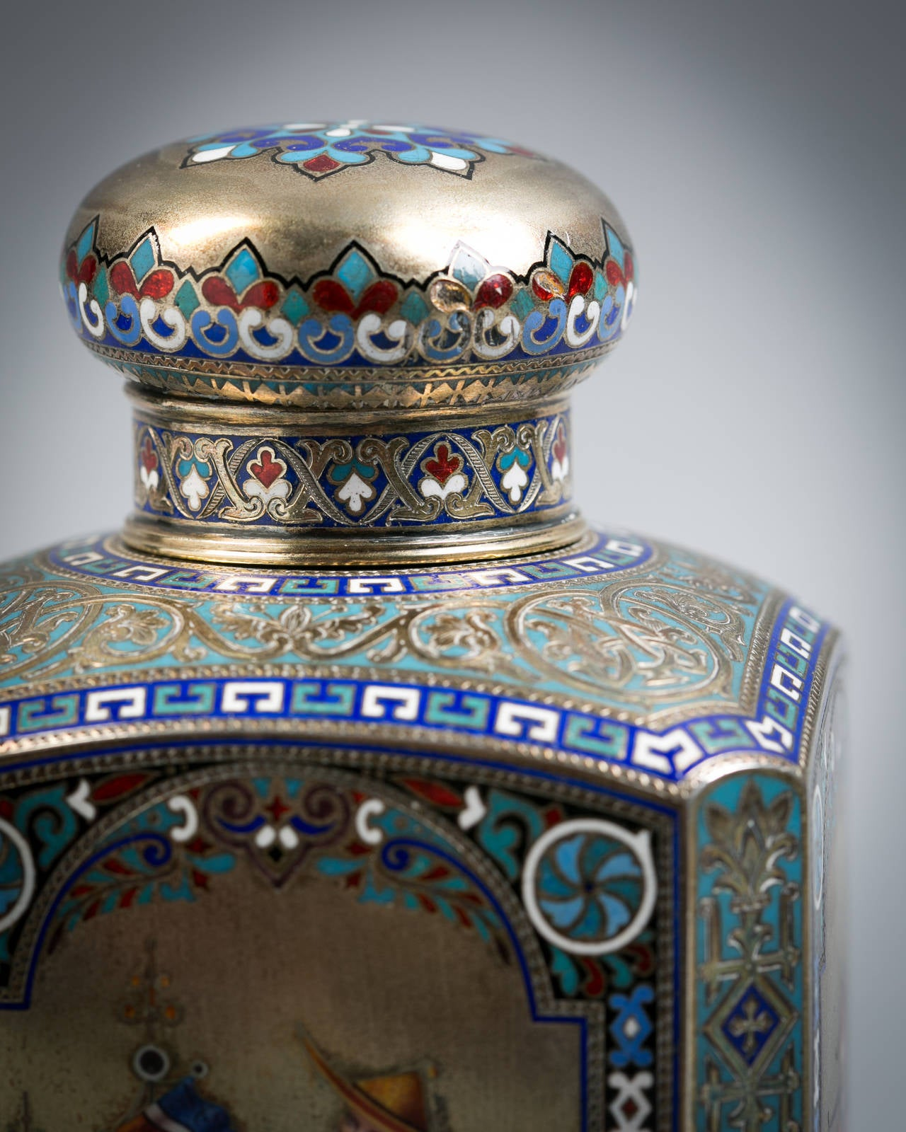 Russian Engraved Silver and Enamel Tea Canister, 1884 3