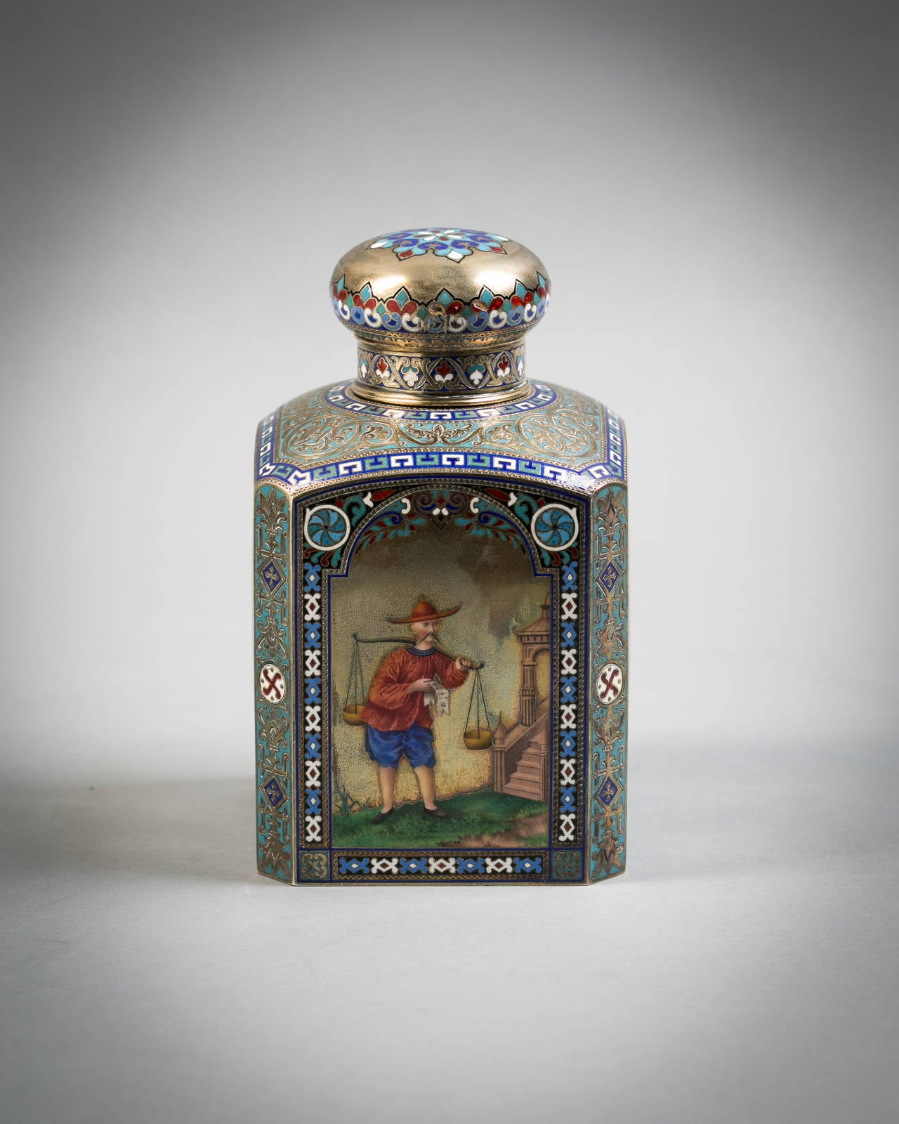 Russian Engraved Silver and Enamel Tea Canister, 1884 4