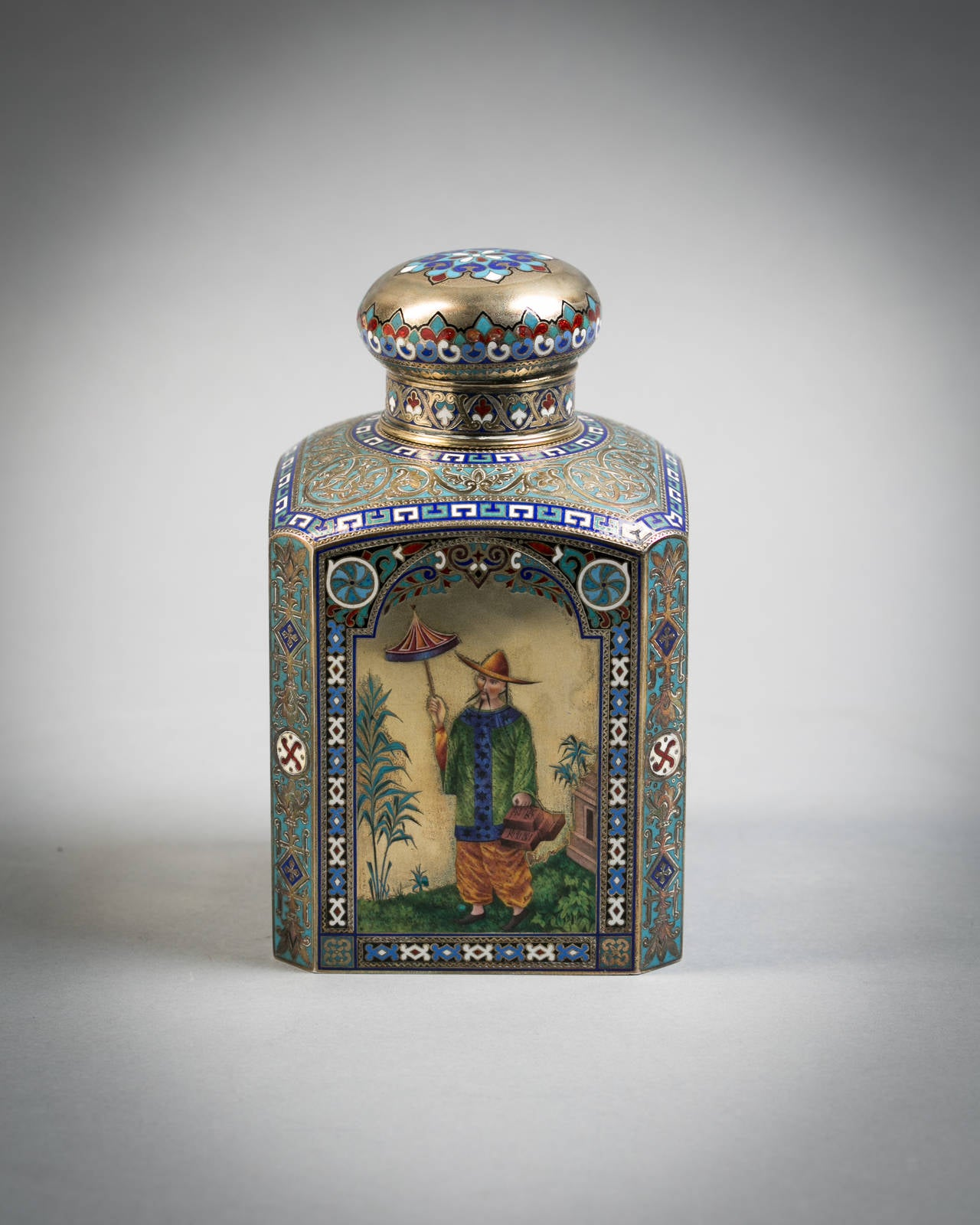 Russian Engraved Silver and Enamel Tea Canister, 1884 5