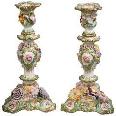Pair of English Porcelain Candlesticks, Coalbrookdale, circa 1840