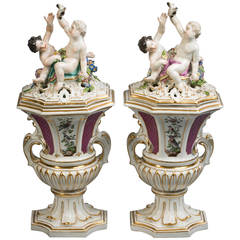 Pair of Meissen Covered Potpourri Vases, circa 1745