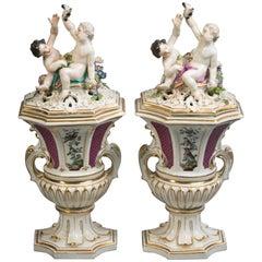 Pair of Meissen Covered Potpourri Vases, circa 1745