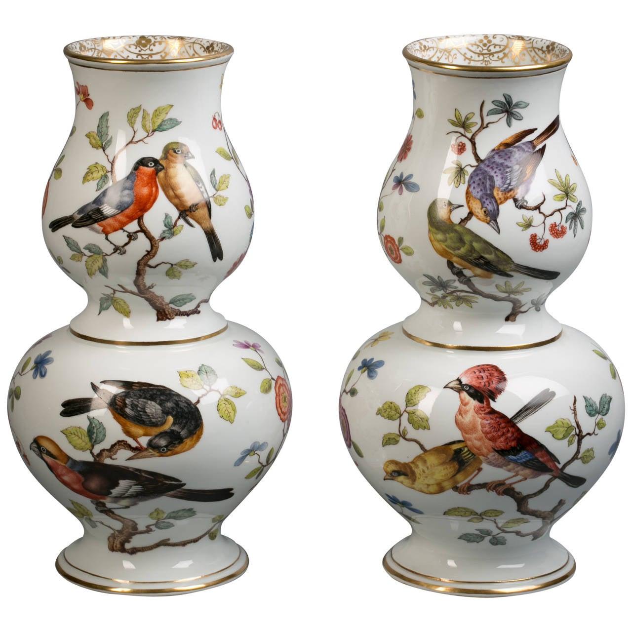 Pair of German Porcelain Double-Gourd Vases, Augustus Rex, circa 1880