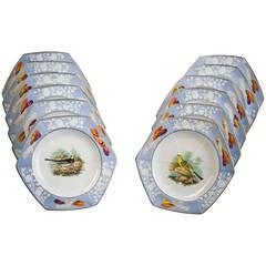 Set of 12 English Porcelain Handkerchief Plates, Spode, circa 1820
