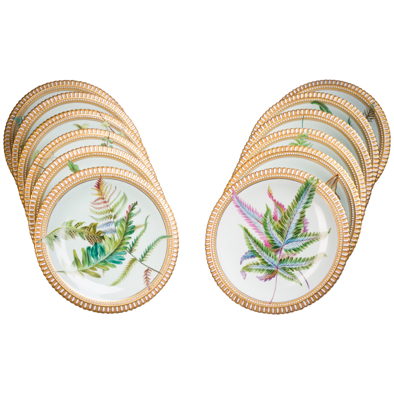 Set of 12 English Porcelain Botanical Plates, Minton, circa 1860
