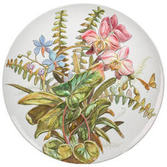 Large English Porcelain Charger with Floral Relief, circa 1890
