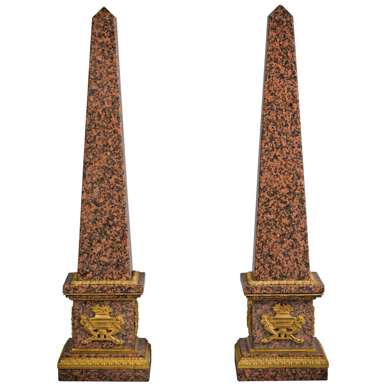 Pair of Granite and Bronze Obelisks, Late 19th Century