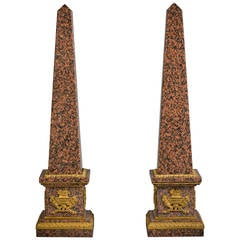Pair of Granite and Bronze Obelisks, Late 19th Century