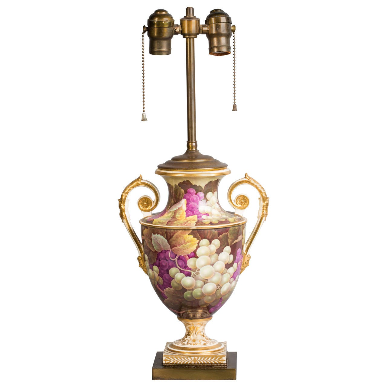 English Porcelain Vase Mounted as Lamp, Derby, circa 1826