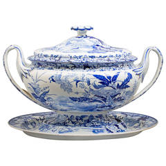 Wedgwood Pearlware Blue and  White Covered Tureen and Stand, circa 1830