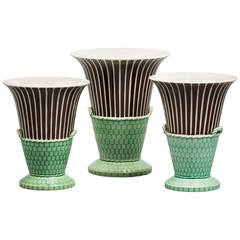 English Pearlware Three-Piece Garniture, Wedgwood, circa 1820