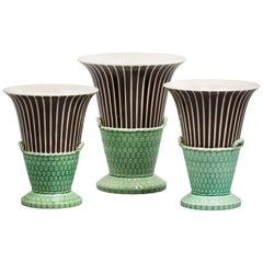 English Pearlware Three-Piece Garniture, Wedgwood, circa 1820