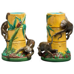 Pair of Minton Majolica Monkey Vases, circa 1880