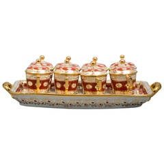 Set of Pot-de-creme Set, Coalport, circa 1820