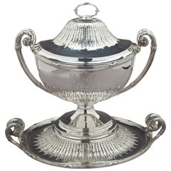 English Silver Paul Storr Covered Soup Tureen on Stand