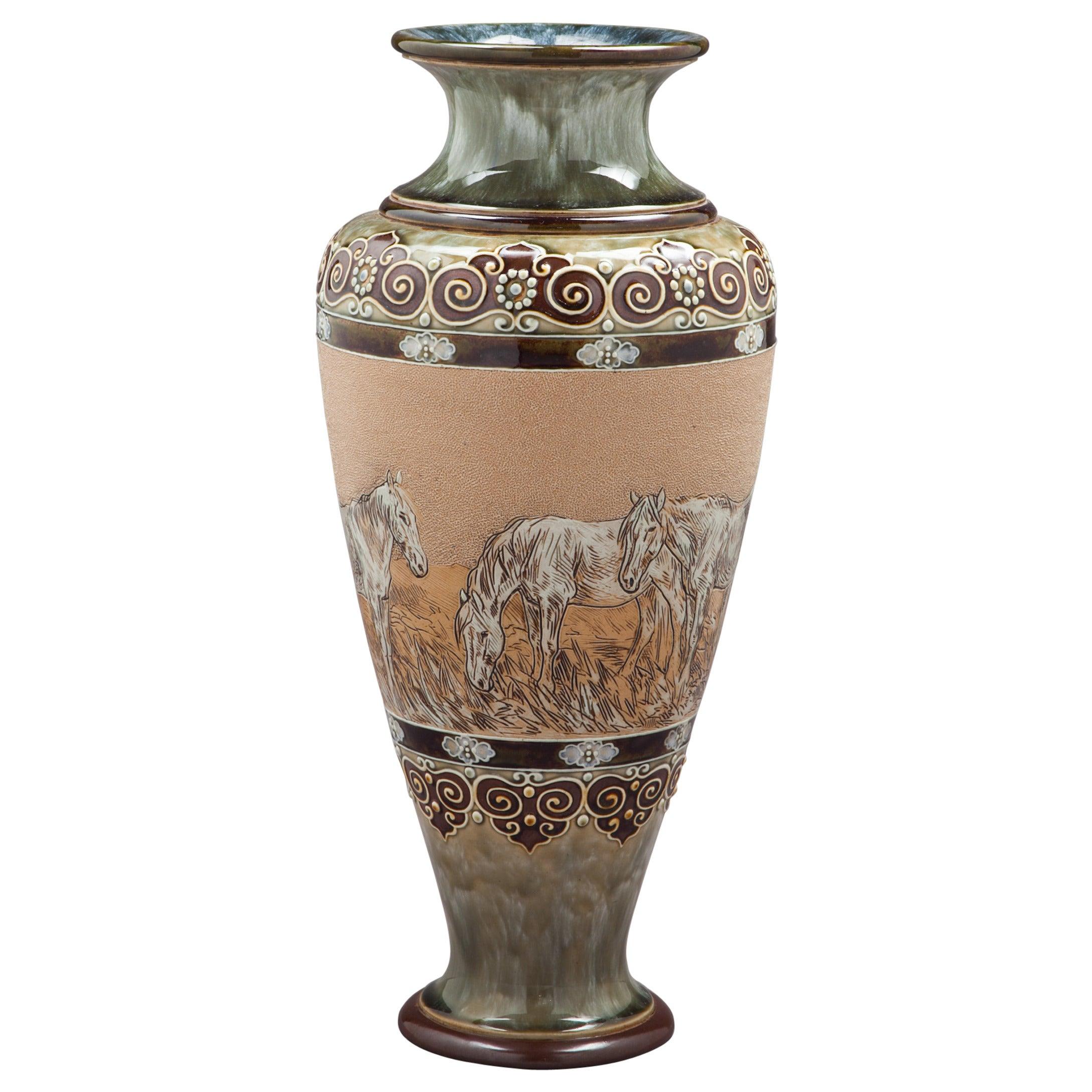 English Stoneware Vase, Royal Doulton, circa 1905