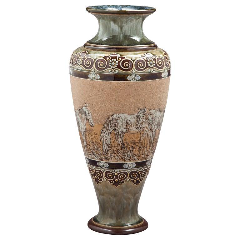 English Stoneware Vase, Royal Doulton, circa 1905 For Sale