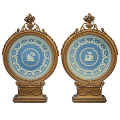 Pair of Framed Wedgwood Circular Plaques, circa 1875