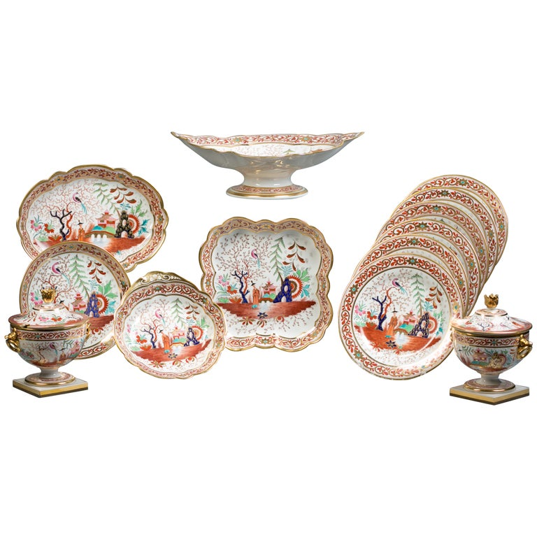 English Flight Barr and Barr Porcelain Dessert Service, circa 1815 For Sale