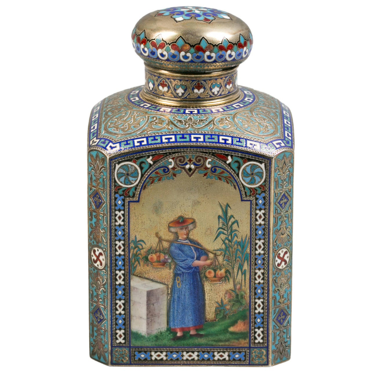 Russian Engraved Silver and Enamel Tea Canister, 1884 1