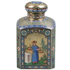 Russian Engraved Silver and Enamel Tea Canister, 1884