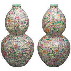Pair of Chinese Double-Gourd Mille-Fleur Vases, 20th Century
