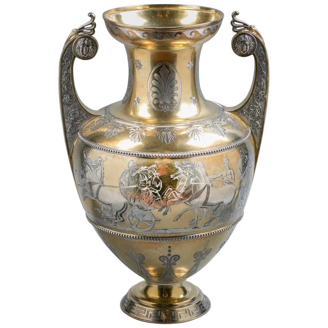 english silver gilt and engraved greek form vase for sale. Black Bedroom Furniture Sets. Home Design Ideas