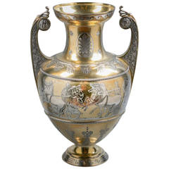 English Silver Gilt and Engraved Greek-Form Vase