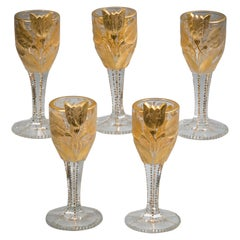 Set of Six French Cut and Engraved Glasses, circa 1900