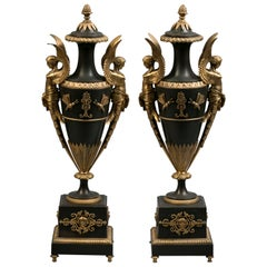 Pair of Gilt and Patinated Bronze Covered Vases, French, circa 1830