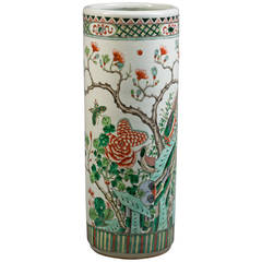 Chinese Famille Verte Umbrella Stand, 19th Century