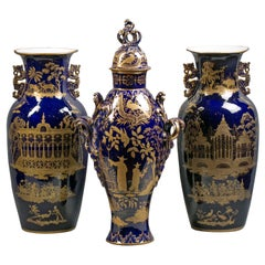 Three-Piece English Porcelain Assembled Garniture, Staffordshire, circa 1820