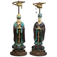 Pair of Chinese Stoneware Figures Mounted as Lamps, Ming Dynasty