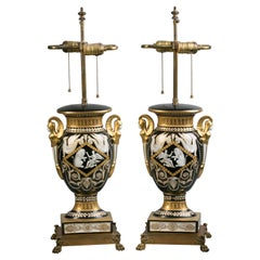 Pair of French Porcelain Vases Mounted as Lamps, circa 1910