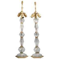 Pair of Bronze and Engraved Glass Lamps, E.F. Caldwell, circa 1900