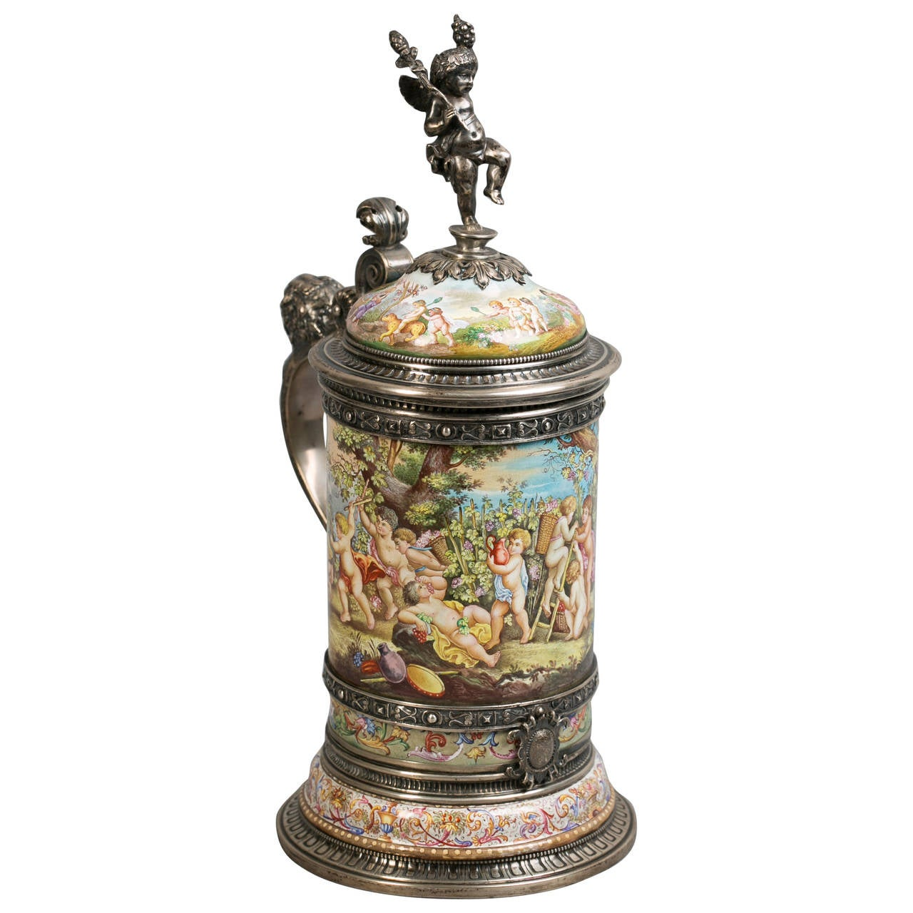 Large Vienna Silver and Enamel Tankard, circa 1875 For Sale