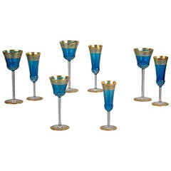 Set of 30 Wine and Champagne Glasses with French Thistle Pattern, circa 1940