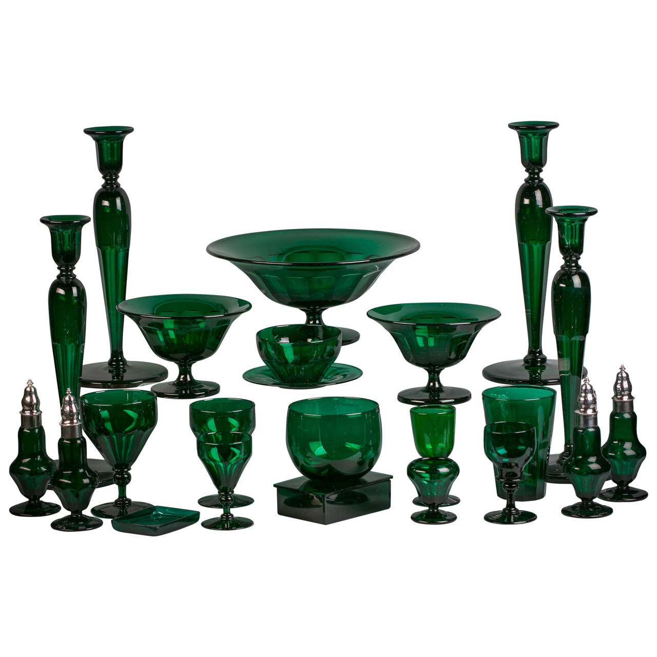 Large English Emerald Green Glass Service, circa 1880