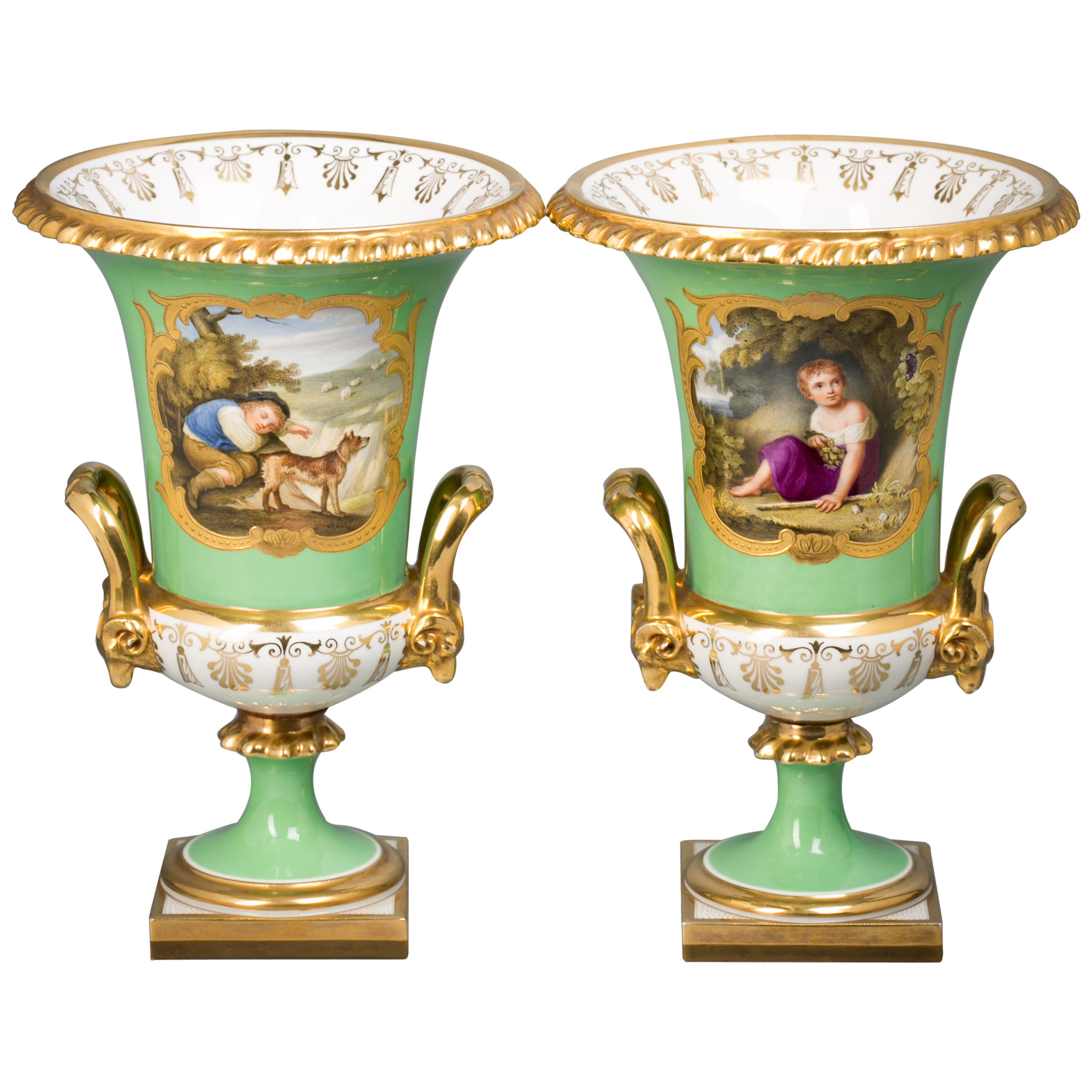Pair of English Porcelain Vases, Flight Barr and Barr, circa 1820