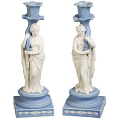 Pair of Wedgwood Figural Candlesticks of Pomona and Ceres, 19th Century