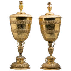 Pair of Large English Gilt Metal Standing Cups and Covers, circa 1890