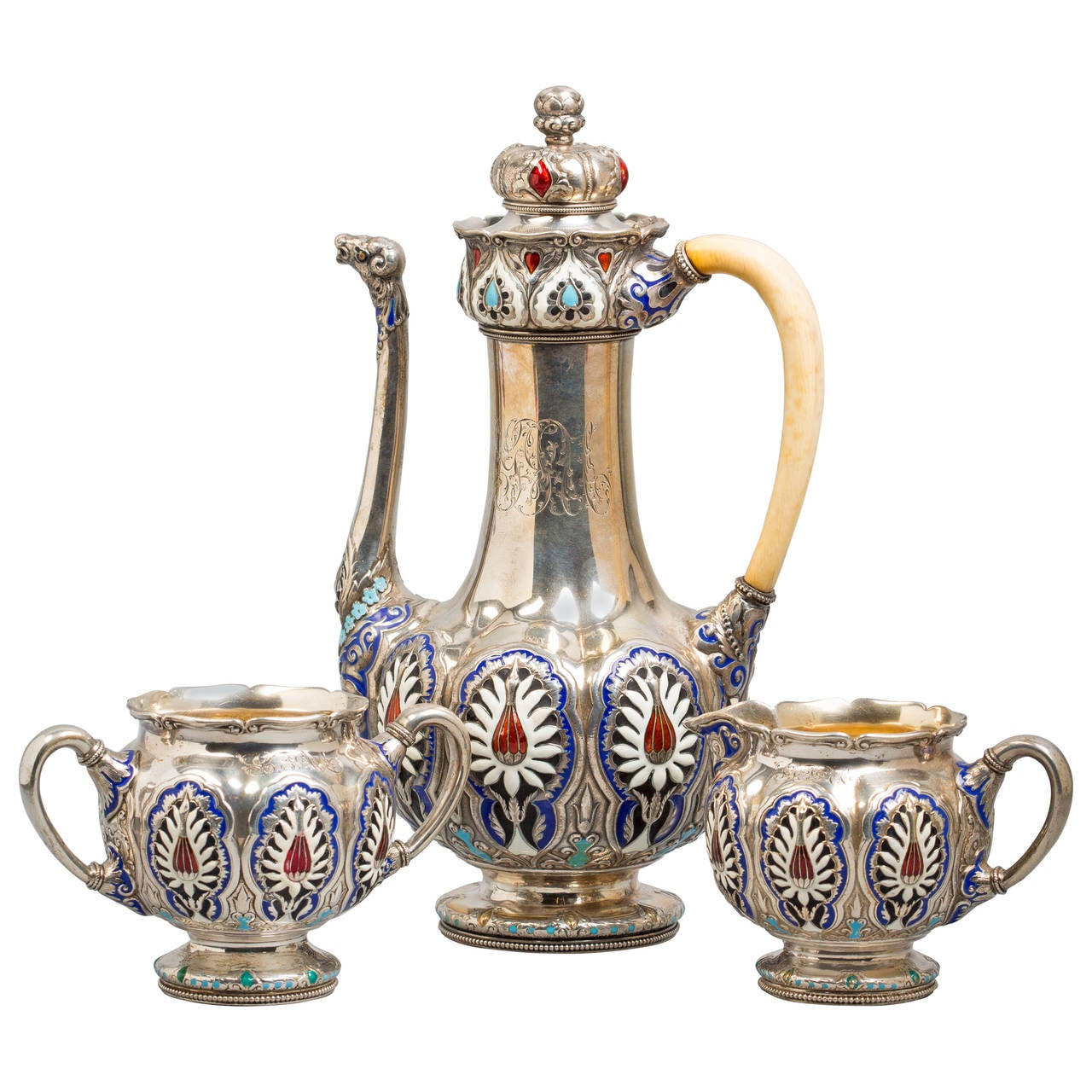 Three-Piece Silver and Enamel Tea Set, Gorham, circa 1920 For Sale