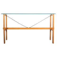 Superstudio Console Table Wood and Glass Zanotta, Italy, circa 1980